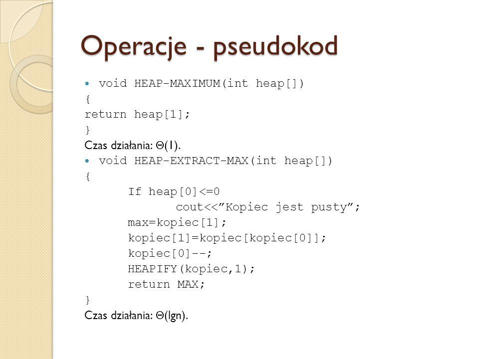 Operacje - pseudokod void HEAP-MAXIMUM(int heap[]) { return heap[1]; }